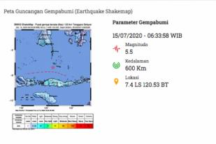 Gempa Bumi 5,5 Mengguncang Laut Flores