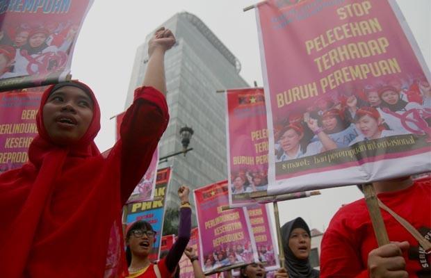 Ratusan Buruh Peringati Hari Perempuan Internasional