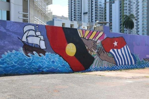 Satu harapan gambar bendera bintang kejora jadi polemik for Mural indonesia