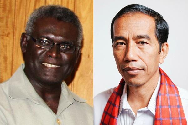Presiden Indonesia Joko Widodo telah menolak permintaan Perdana Menteri Kepulauan Solomon, Manasye Sogavare (kiri) yang akan membahas isu Papua Barat. (Foto: news.godsdirectcontact.net/arrl.org)