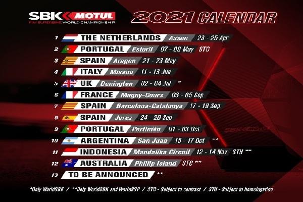 Superbike Kalender 2021